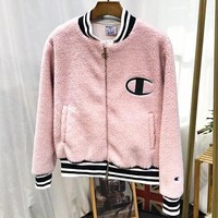 Champion New fashion embroidery letter women long sleeve coat cardigan Pink