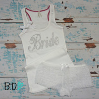 Bride ribbed tank top with bow and ruffly lace boyshort panties. Bridal lingerie set. Honeymoon tank top. Honeymoon lingerie. Bridal gift