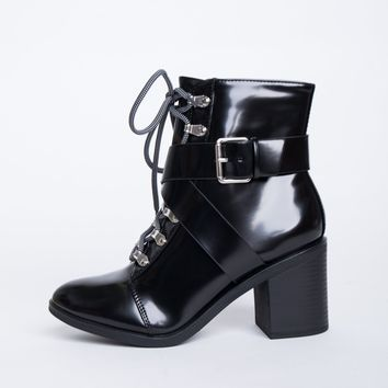 Double Crossed Buckled Boots