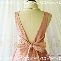 A Party V Charming Dress Nicely Pink Nude Lace Party Dress Prom Dress Lace Cocktail Backless Dress Pink Wedding Bridesmaid Dresses XS-XL