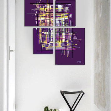 "Original abstract painting. 4 piece canvas art. 42x34"" Large painting. Purple painting with yellow, lavender. Modern wall art. Contemporary"