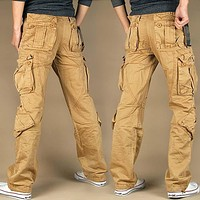 Men Long Pants With Pocket Cotton Joggers Casual Cargo Pants Loose Comfortable Trousers