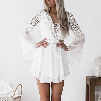 New Arrival Women Dress Summer Sexy Deep V-neck  Lace Long Sleeve Bodycon Cocktail Party Dress Bandage Dresses ropa