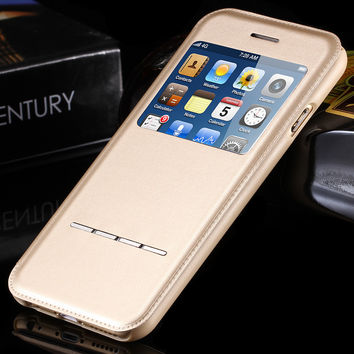 Luxury Intelligent Smart Window View Leather Flip Case for iphone 6 4.7 Answer Phone without Open!