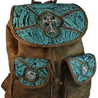 """Texcyngoods Western Backpack Style Purse 13""""H Handbag Bling Brown and Turquoise"""