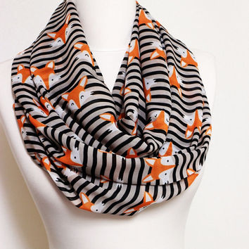 Fox pattern Chiffon Infinity scarf, Circle Scarf, Loop Scarf, Scarves, Shawls, Spring Fall Winter Summer fashion gift ideas for her wife