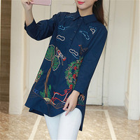 New Fashion  Korean Style Embroidery Bird Shirt Women Blouses Woman Loose Tops Full Sleeve Long Blusas 72597 GS