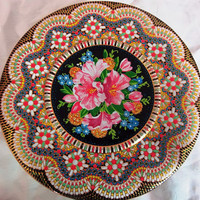Vintage Daher Tin Container with lid, Decorated Mosaic Style Made in England
