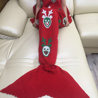 Hot Deal Birthday Gifts Red Knit Mermaid Sofa Blanket [9594670863]