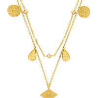 Wanderlust + Co Galaxy Charms Necklace in Gold
