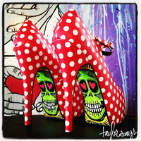 POLKA DOT BEAUTY Sugar Skull High Heel Shoes another color available by taylorsays on Etsy
