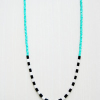 Long Beaded Colorblock Necklace - Black & White - Turquoise glass beads, Black Jasper and Snow Quartz - Silk and Sterling Silver