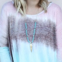 Arrow To My Heart Necklace - Turquoise