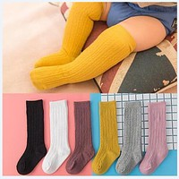 Spring Summer Baby Girls Cotton Knee High Socks Solid Candy Color Kids Toddler Double Needle Short Socks For Children