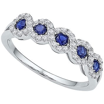 10kt White Gold Women's Round Lab-Created Blue Sapphire Band Ring 1/2 Cttw - FREE Shipping (US/CAN)