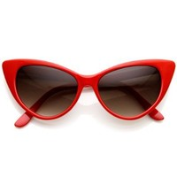 zeroUV - Super Cateyes Vintage Inspired Fashion Mod Chic High Pointed Cat-Eye Sunglasses (Red)