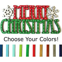 Merry Christmas Sign, custom colors hand painted wooden cut out with snowflakes, red and green with white polka dots, Christmas decor