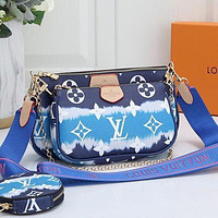 LV Louis Vuitton Women Fashion Leather Crossbody Shoulder Bag Satchel Two-Piece