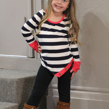 Kids Pink Stripe with Buttons