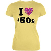 I Heart The 80s Yellow Juniors Soft T-Shirt