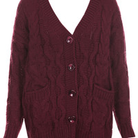 ROMWE | ROMWE Buttoned V-neck Cable Knit Wine-red Cardigan, The Latest Street Fashion