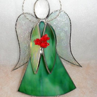 Vintage Hand Made Stained Glass Angel Figurine/Stained Glass Angel/Hand Made Stained Glass Ornamental Angel/Christmas Stained Glass Ornament
