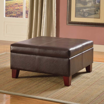 Luxury Large Brown Faux Leather Storage Ottoman