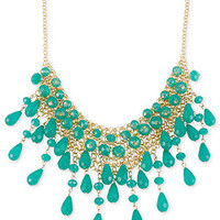 Haskell Necklace, Gold-Tone Teal Teardrop Bead Mesh Frontal Necklace - Fashion Jewelry - Jewelry & Watches - Macy's