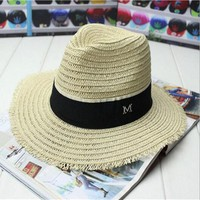 Fashion summer straw big sun hat color patchwork women M letter panama hat/trilby beach hats women straw hats