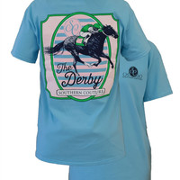 Southern Couture Preppy The Derby Horse Racing Girlie Bright T Shirt
