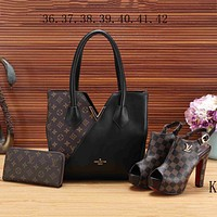 LV Louis Vuitton 2018 new women's high quality three-piece Messenger bag F-KSPJ-BBDL black