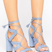 Call It Spring Veriri Ruffle Lace Up Heeled Sandals at asos.com