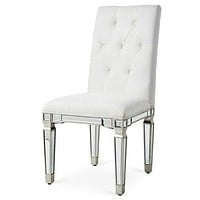 "Florentine 25-3/4""x19-1/4""x39-1/2"" Mirrored Accent Chair, Sliver"