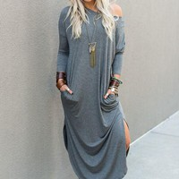 Must Have Long-Sleeved Maxi Dress - Charcoal