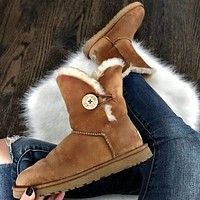 UGG new style snow boots classic middle tube non-slip leather shoes for men and women
