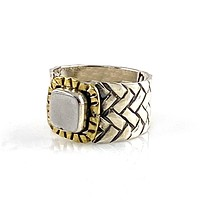 Gibeon Metrorite Two Tone Sterling Silver Woven Band Ring