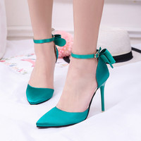 Super High Heels Pumps Pointed Toe Back Bowtie
