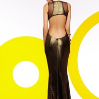 Faviana 7182 Gold Prom Dress