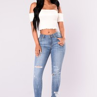 Karinna Distressed Jeans - Medium Blue