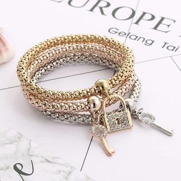 Key & Lock Charm Bracelets For Women