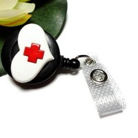 Id Badge Reel Heart with Red Cross Clip On Retractable Nurse Medical