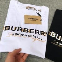 Burberry Trending Women Men Stylish Letter Print Round Collar T-Shirt Top