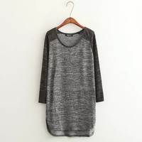 Gray Long-Sleeve Knitted Sweater