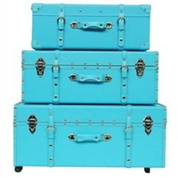 The Sorority College Trunk - Cyan Blue Dorm Moving In Transportation Carry Design Stylish Storage