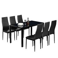 7 Piece Set Clear Glass Metal Dining Table