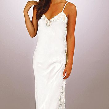 """100% Silk Charmeuse White Bridal Nightgown w/Lace """"Angelina"""" (Small-XL)"""