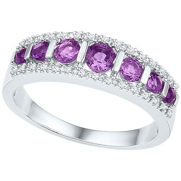 10k White Gold Round Created Amethyst Band Ring 3/4 Cttw