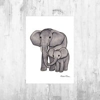 Elephant with Baby Art Print