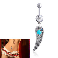 12 pcs Turquoise Feather Belly Button Navel Bar Ring Barbell Body Piercing Jewelry