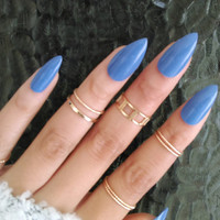Blue Stiletto Nails | Fake Nails | Claw Nails | Almond Nails